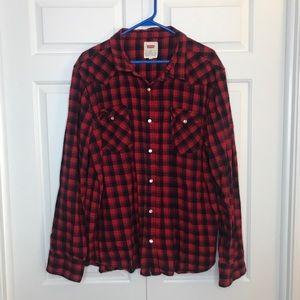Levi's red plaid flannel button down shirt